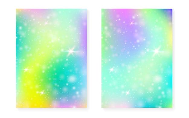 Kawaii achtergrond met regenboog prinses verloop. magisch eenhoornhologram. holografische fee set. Premium Vector