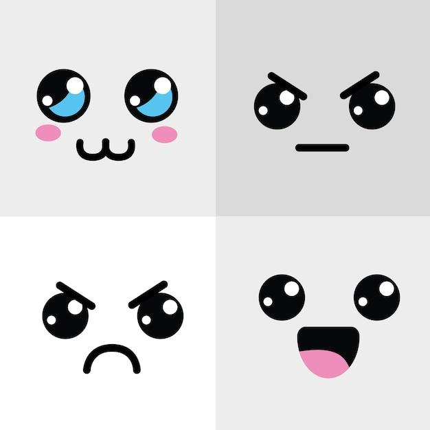 Kawaii blij en boos gezicht pictogram Premium Vector