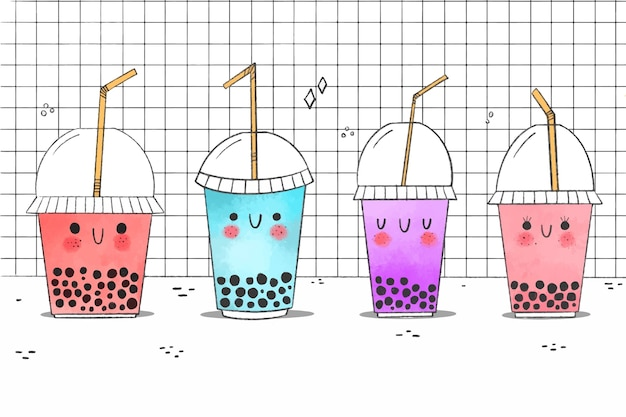 Kawaii bubble tea collectie illustratie Gratis Vector