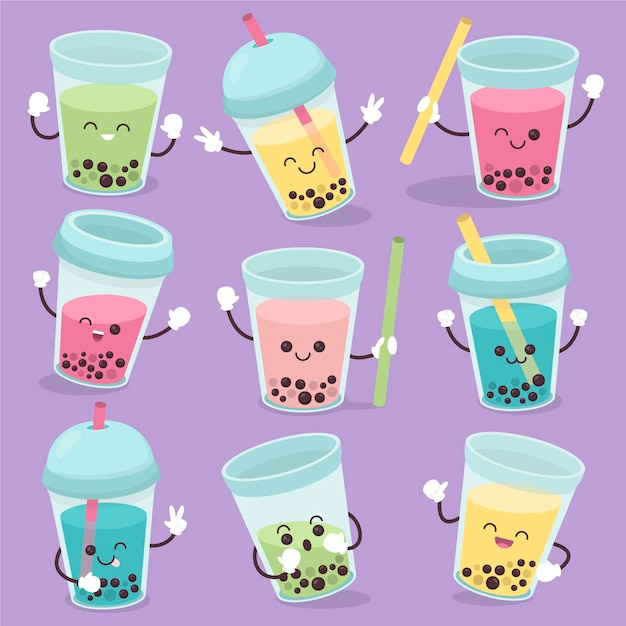 Kawaii bubble tea-collectie Gratis Vector