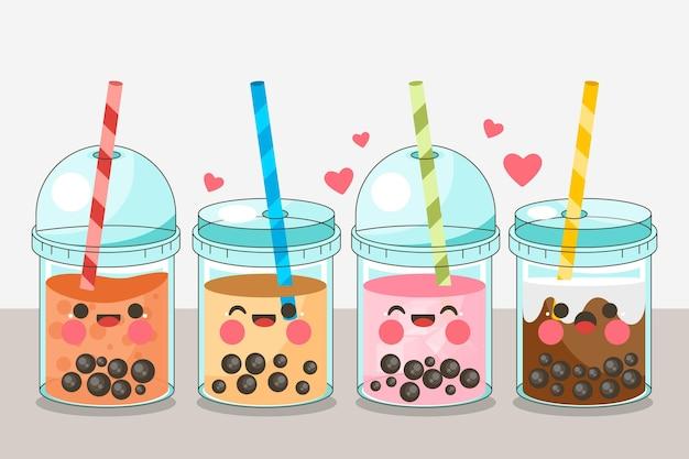 Kawaii bubble tea-collectie Premium Vector