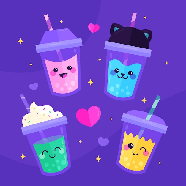 Kawaii bubble tea-collectie Premium Vector