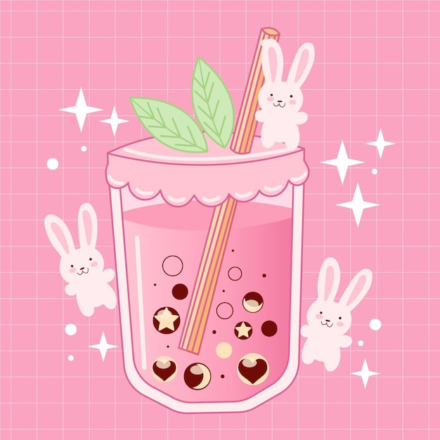 Kawaii bubble tea illustratie met konijntjes Premium Vector