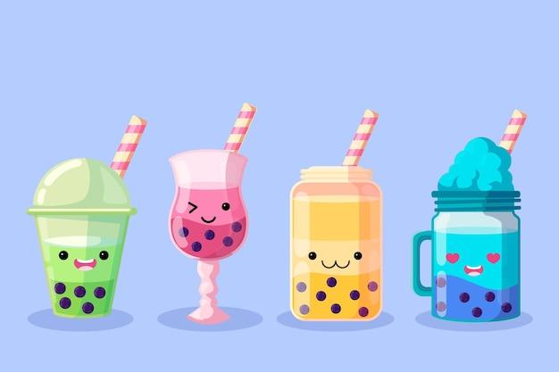 Kawaii bubble tea illustratie Gratis Vector