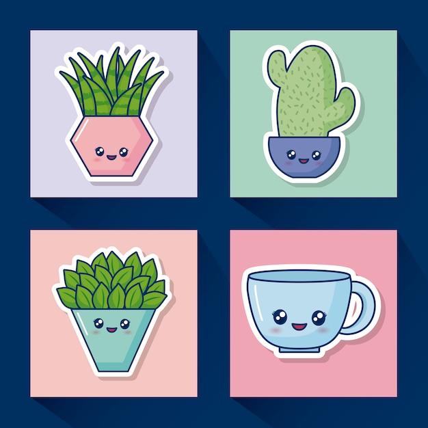 Kawaii cactus pictogramserie Gratis Vector