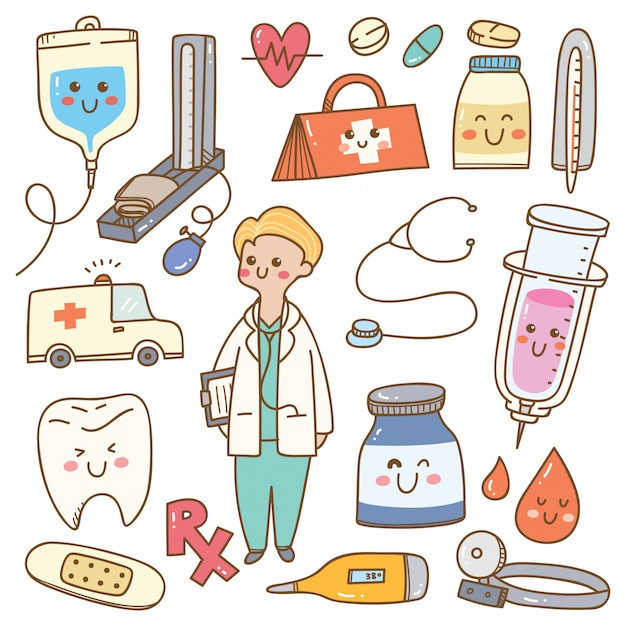 Kawaii cartoon arts met medische apparatuur Premium Vector