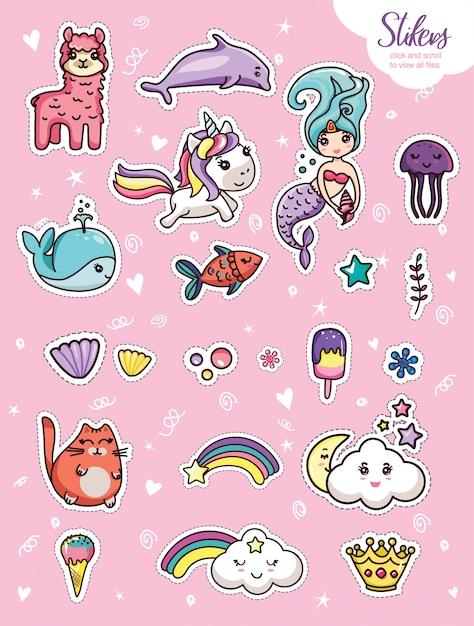 Kawaii cartoon belettering meisjesachtig kaartsjabloon instellen Premium Vector