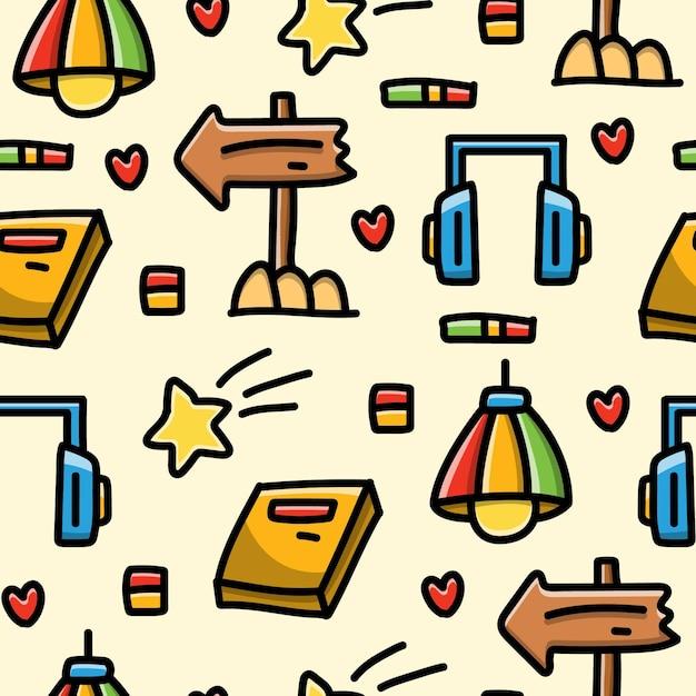 Kawaii cartoon doodle naadloze patroon Premium Vector