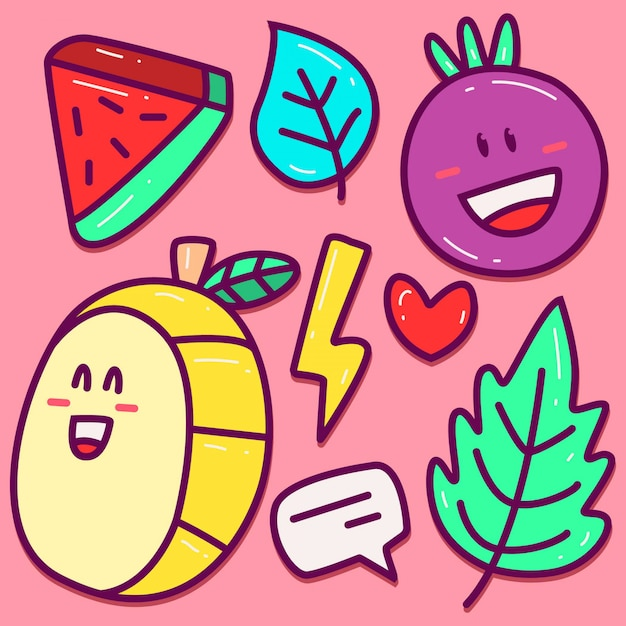 Kawaii cartoon fruit doodle sjabloon Premium Vector