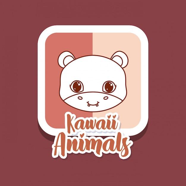 Kawaii dieren kaart Premium Vector