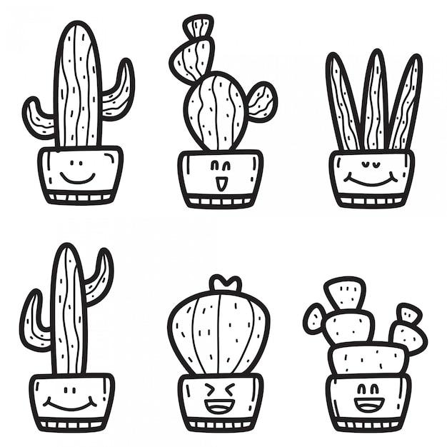 Kawaii doodle cactus ontwerpsjabloon Premium Vector