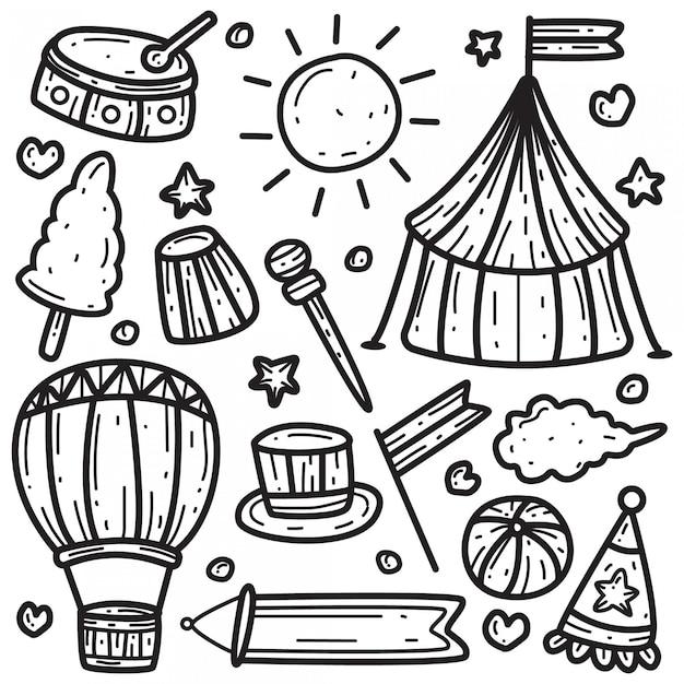 Kawaii doodle circus sjabloon Premium Vector