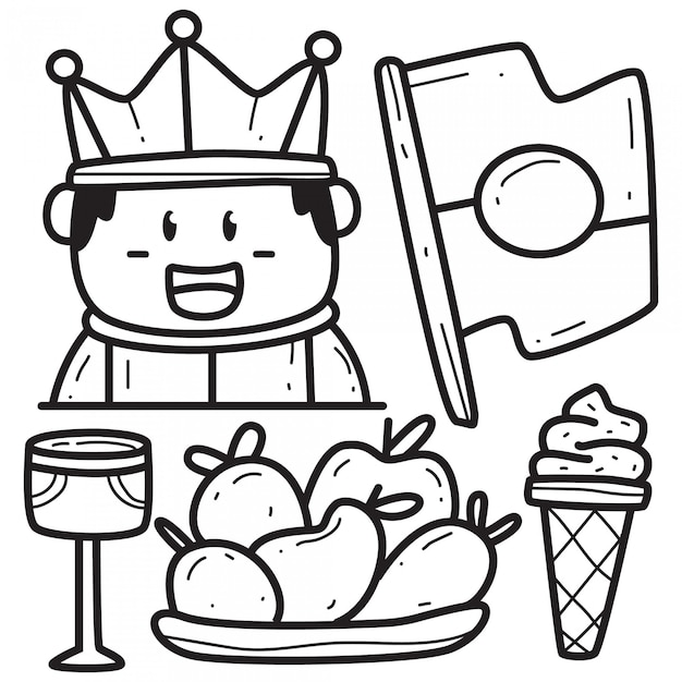 Kawaii doodle koning cartoon Premium Vector