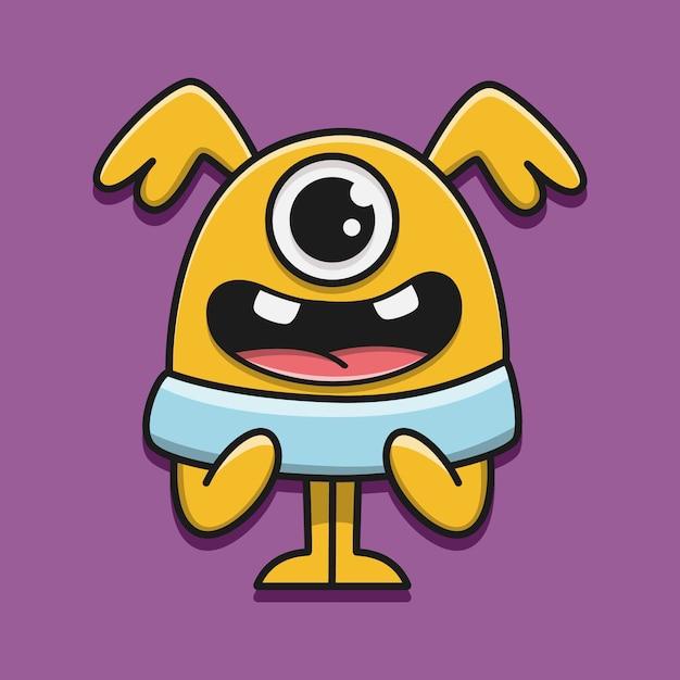 Kawaii doodle monster karakter illustratie Premium Vector