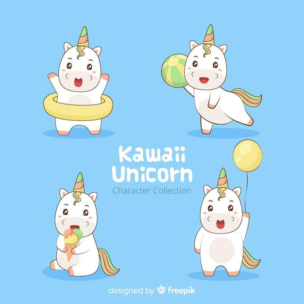 Kawaii eenhoorn karakter collectie Gratis Vector