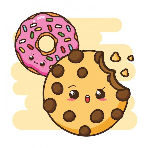 Kawaii fastfood cookie en donut illustratie Gratis Vector