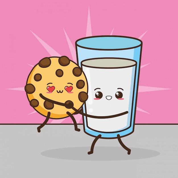 Kawaii fastfood schattig koekje en melk illustratie Gratis Vector