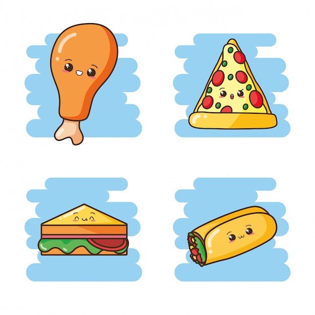 Kawaii fastfood schattig sandwich, burrito, pizza, gebakken kip illustratie Gratis Vector