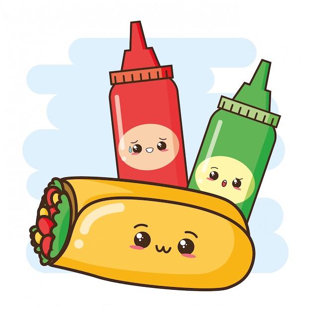 Kawaii fastfood schattige burrito en sauzen illustratie Gratis Vector