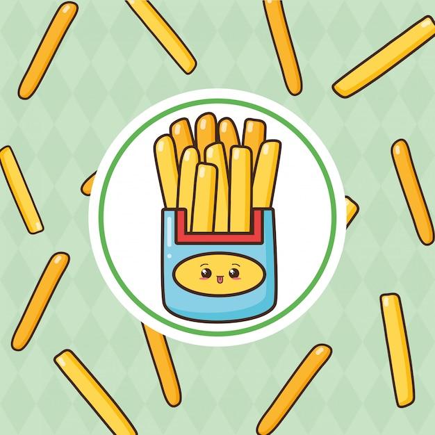Kawaii fastfood schattige frieas met frietjes illustratie Gratis Vector