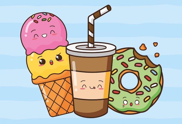 Kawaii fastfood schattige snacks illustratie Gratis Vector