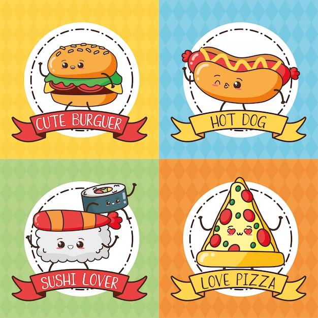 Kawaii fastfood set schattig eten hamburger, hotdog, sushi, pizza Gratis Vector
