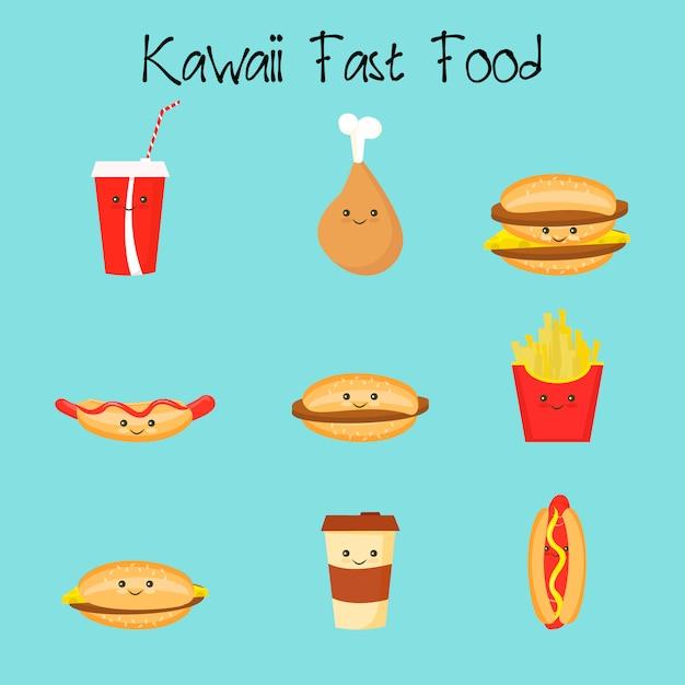 Kawaii fastfood Premium Vector