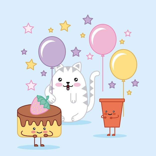 Kawaii Gelukkige Verjaardag Kat Cake En Frisdrank Cartoon Vector
