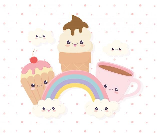 Kawaii ijs cupcake en koffiekopje regenboog wolken fastfood cartoon Premium Vector