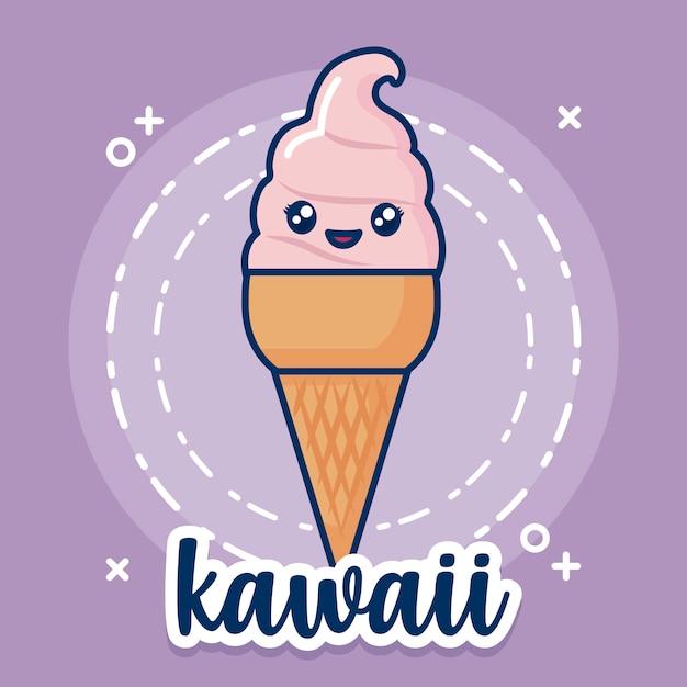 Kawaii-ijs pictogram Gratis Vector