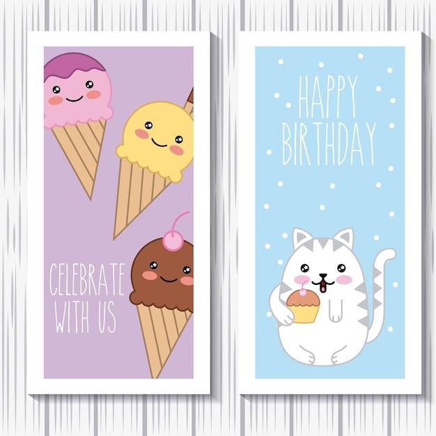 Kawaii Kat En Ijs Gelukkige Verjaardag Vieren Met Ons Kaarten