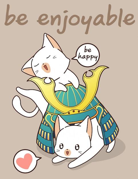 Kawaii katten en samurai helm illustratie Premium Vector