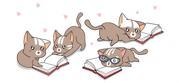 Kawaii kattenfiguren lezen graag boeken Premium Vector