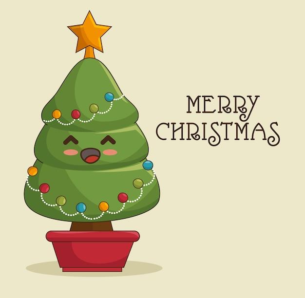 Kawaii kerstboom, merry christmas wenskaart Gratis Vector