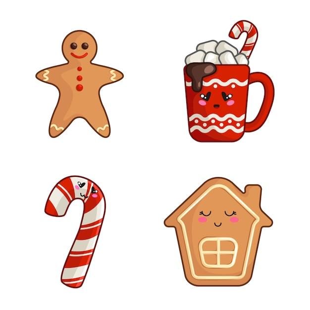 Kawaii kerstfiguren, set van schattig eten - kopje warme drank of drank, snoepgoed, speculaaspop en huis, nieuwjaarsdesserts Premium Vector