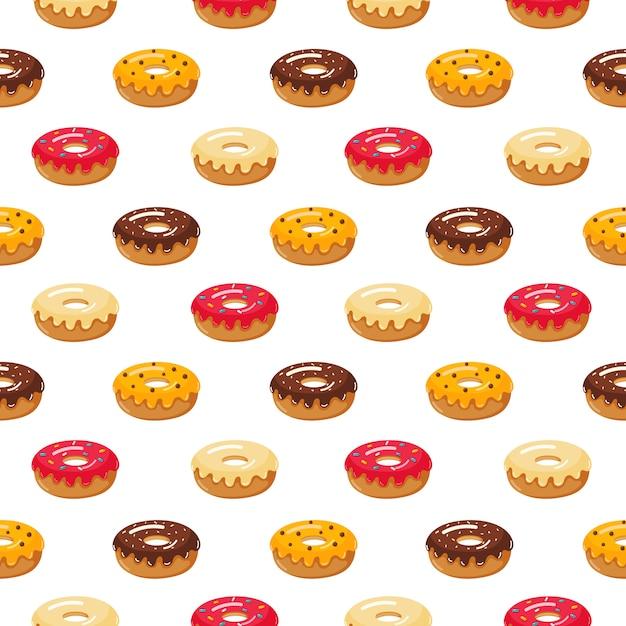 Kawaii leuke pastel donuts zoete zomer desserts naadloos patroon met verschillende soorten op wit Premium Vector