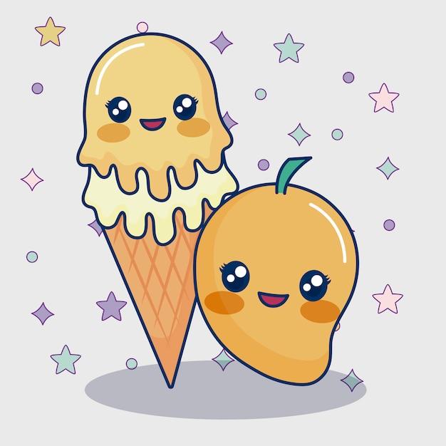 Kawaii mango en ijs Gratis Vector