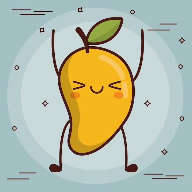 Kawaii mango pictogram Premium Vector