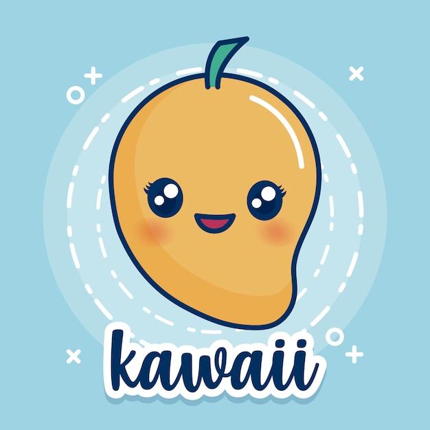 Kawaii mango pictogram Gratis Vector