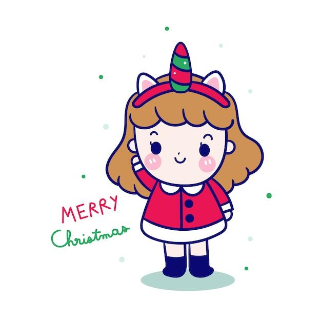 Kawaii meisje santa claus in eenhoorn fancy dress Premium Vector