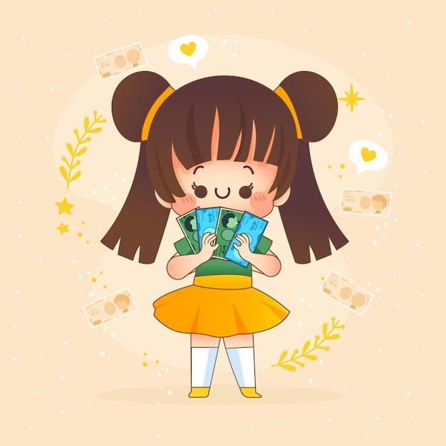 Kawaii meisje yen geld te houden Gratis Vector