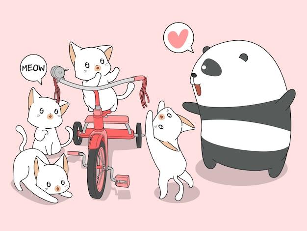 Kawaii panda en katten met driewieler in cartoon stijl. Premium Vector