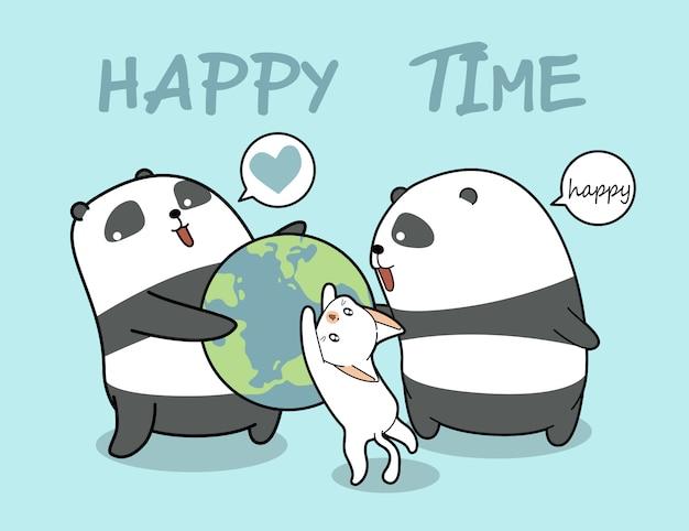 Kawaii panda's en kat houdt van de wereld Premium Vector