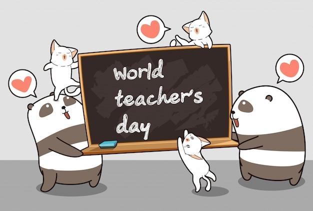 Kawaii-panda's en katten houden een schoolbord vast in de tijd van de wereldleraar Premium Vector