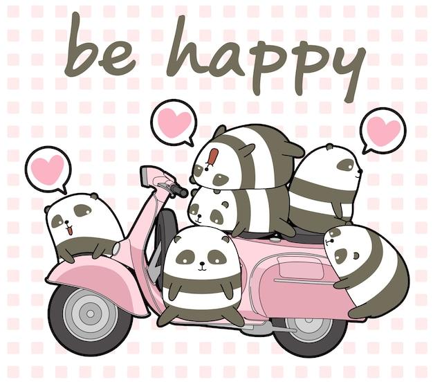 Kawaii panda's en roze motorfiets Premium Vector