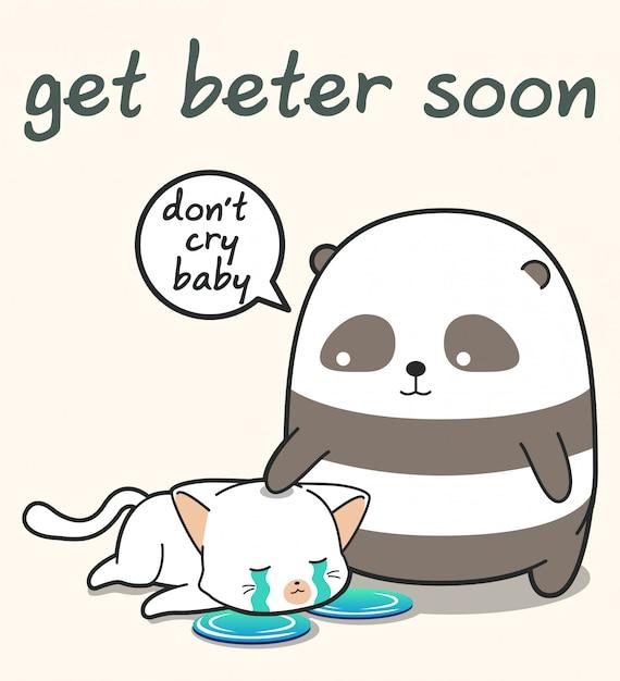 Kawaii panda zorgt voor een kat Premium Vector