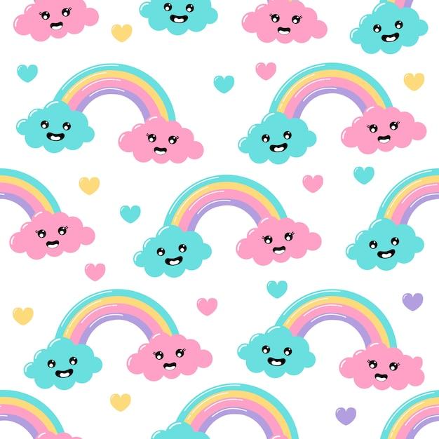 Kawaii pastel cuts weer regenboog wolken cartoon met grappige gezichten naadloze patroon op witte achtergrond. Premium Vector