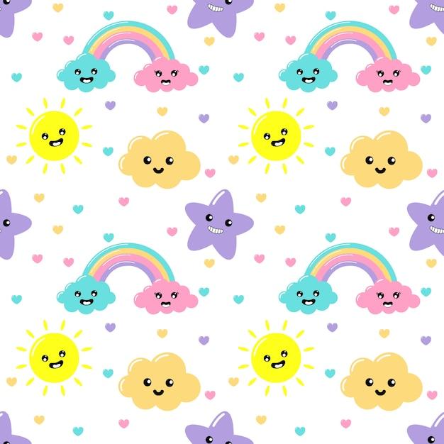 Kawaii pastel snijdt weer regenboog, wolken, zon en sterren cartoon met grappige gezichten naadloze patroon op witte achtergrond Premium Vector