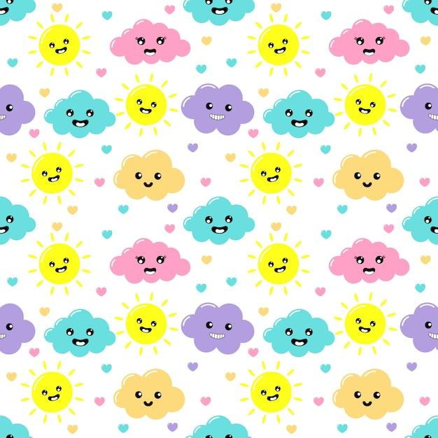 Kawaii pastel snijdt wolken, zon, hart en sterren cartoon met grappige gezichten naadloze patroon op witte achtergrond Premium Vector