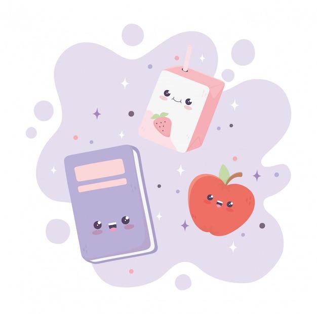 Kawaii schoolboek appel en doos sap cartoon Premium Vector